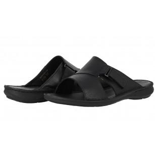 Мъжки чехли от естествена кожа Comyp черни 8134