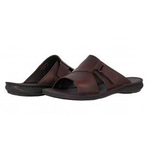 Мъжки чехли от естествена кожа Comyp кафяви 8134