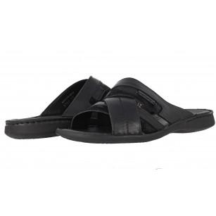 Мъжки чехли от естествена кожа Comyp черни 8792