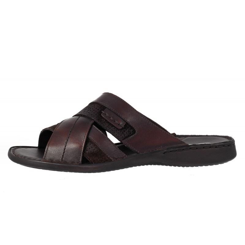 Мъжки чехли от естествена кожа Comyp кафяви 8792