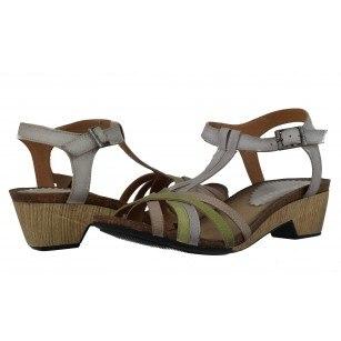 Дамски сандали от естествена кожа Indigo сиви/зелени