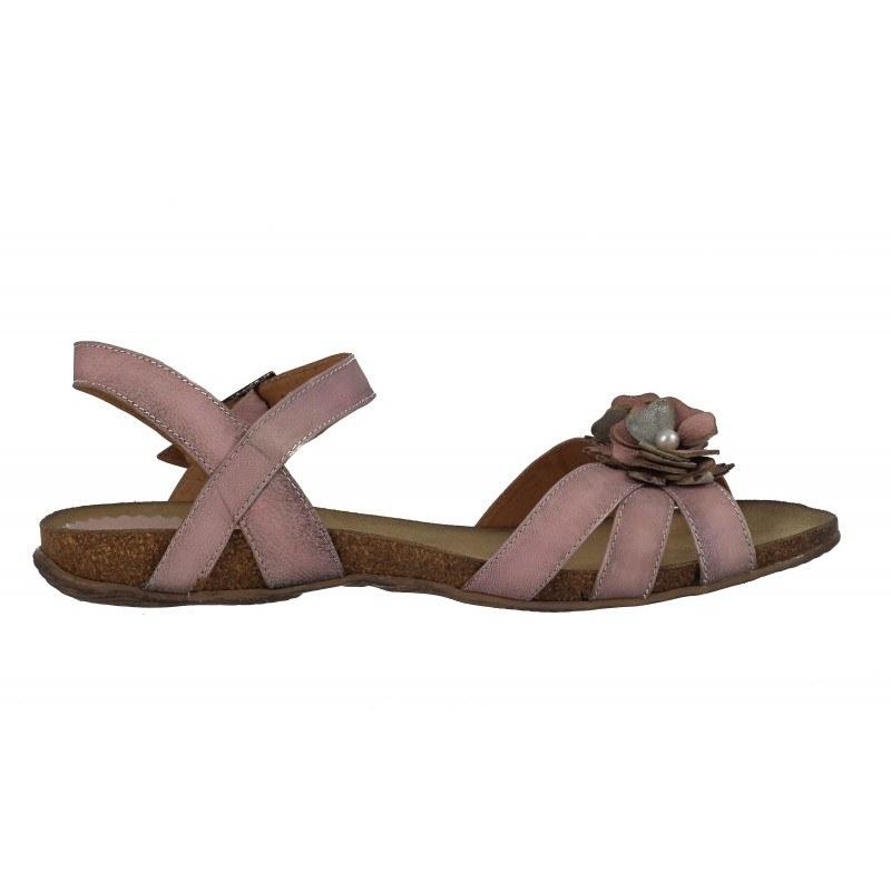 Дамски равни анатомични сандали от естествена кожа Indigo розови