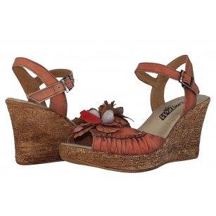 Дамски сандали на платформа естествена кожа Indigo оранжеви