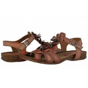 Дамски равни анатомични сандали от естествена кожа Indigo оранжеви