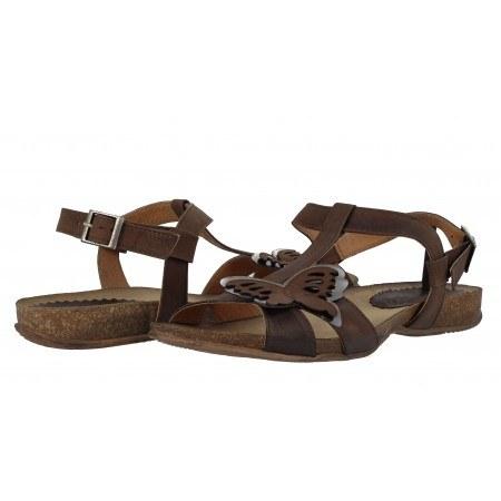 Дамски равни анатомични сандали от естествена кожа Indigo кафяви