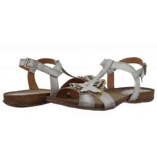 Дамски равни анатомични сандали от естествена кожа Indigo бели butterfly