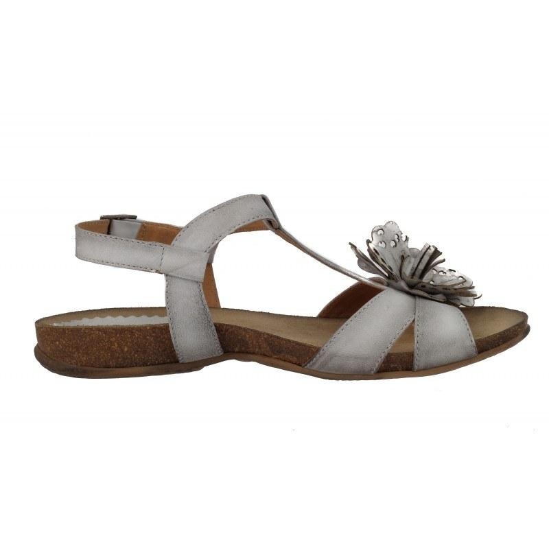 Дамски равни анатомични сандали от естествена кожа Indigo сиви