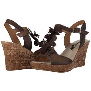 Дамски сандали на платформа естествена кожа Indigo кафяви