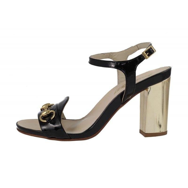 Дамски сандали на висок ток естествена кожа Indigo черен лак