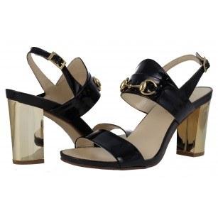 Дамски елегантни сандали на висок ток Indigo естествена кожа лачени черни