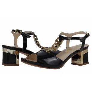Дамски сандали на ток естествена кожа Indigo черни/златисти лачени