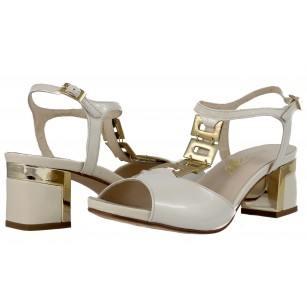 Дамски сандали на ток естествена кожа Indigo бежови/златисти лачени