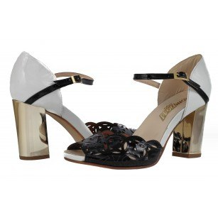 Дамски елегантни лачени сандали от естествена кожа бели/черни/златисти