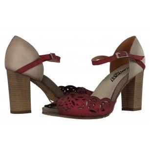 Дамски елегантни сандали естествена кожа бордо