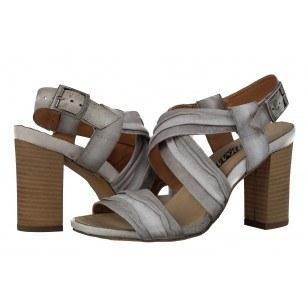 Дамски сандали на ток естествена кожа Indigo сиви