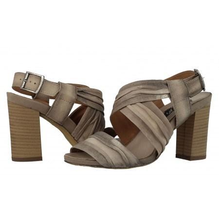 Дамски сандали на ток естествена кожа Indigo бежови