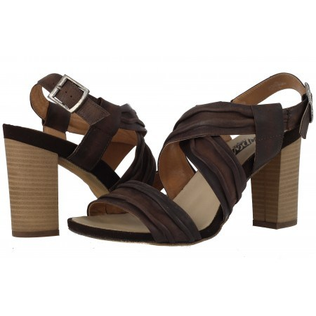 Дамски сандали на ток естествена кожа Indigo кафяви