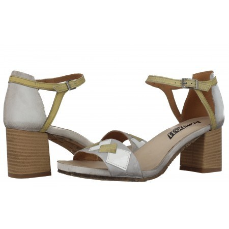 Дамски сандали на ток естествена кожа Indigo сиви/жълти