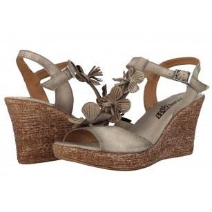 Дамски сандали на платформа от естествена кожа Indigo бежови