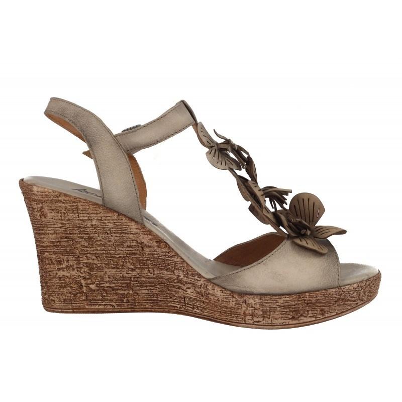 Дамски сандали на платформа естествена кожа Indigo бежови