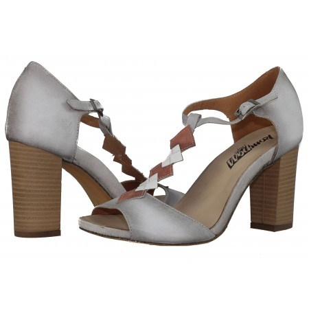 Дамски сандали на ток естествена кожа Indigo сиви/оранжеви