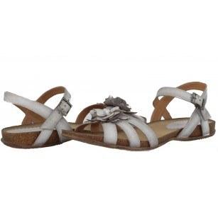 Дамски равни анатомични сандали от естествена кожа Indigo бели