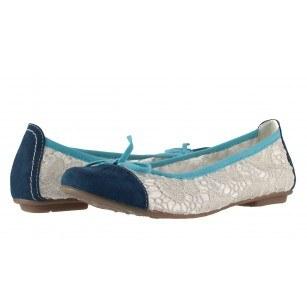 Дамски обувки балерина Jana Soft Line дантела/сини
