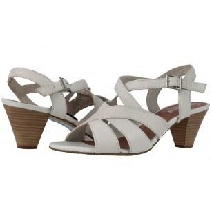 Дамски кожени сандали на ток Jana бели