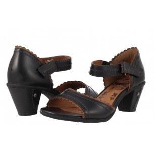 Дамски сандали от естествена кожа на ток Jana черни