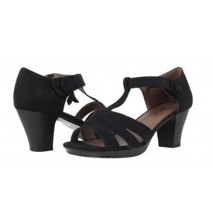 Дамски сандали на ток Jana Soft Line черни