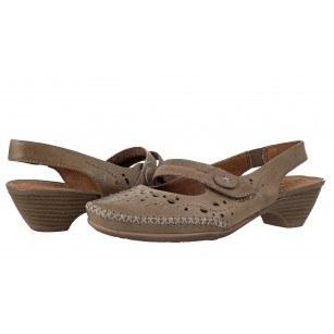 Дамски кожени сандали нисък ток Jana кафяви