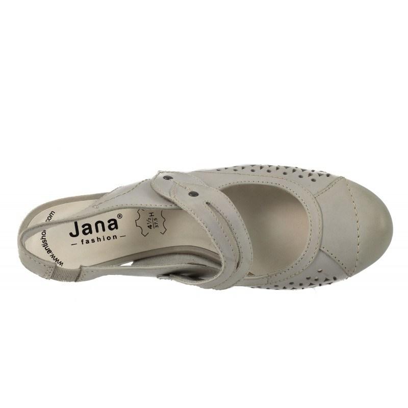 Дамски летни обувки на ток естествена кожа Jana бели