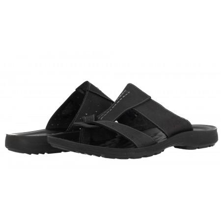 Мъжки чехли Mania естествена кожа черни