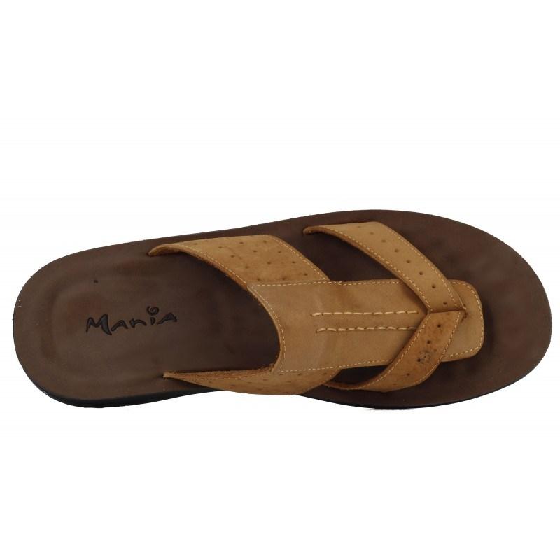 Мъжки чехли Mania естествена кожа кафяви