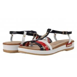 Дамски кожени сандали на равно ходило Prativerdi бяло/синьо/червенo