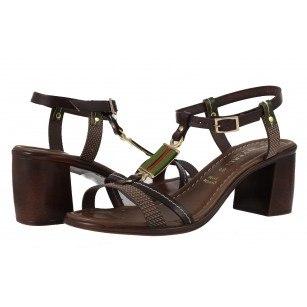 Дамски сандали на ток от естествена кожа Prativerdi кафяви