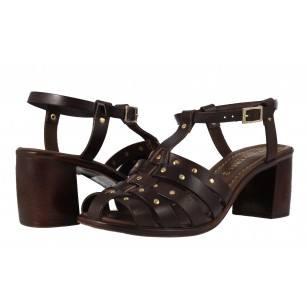 Дамски затворени сандали естествена кожа Prativerdi кафяви