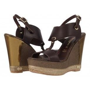 Дамски сандали на платформа естествена кожа Prativerdi кафяви/златисти