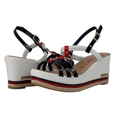 Дамски сандали на платформа от естествена кожа Prativerdi бели/сини/червени