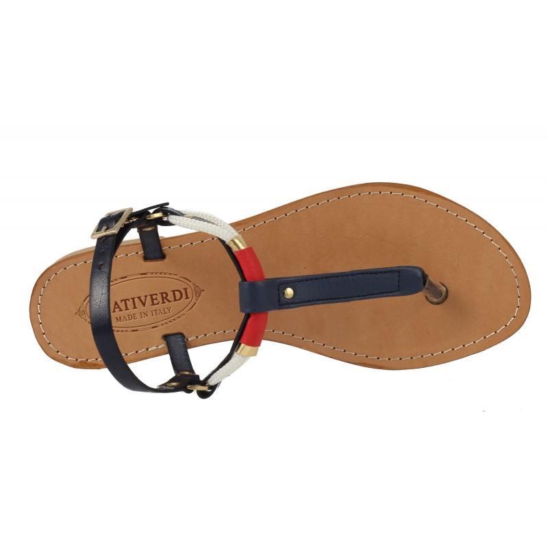 Дамски кожени сандали на равно ходило капри сини Prativerdi 25544