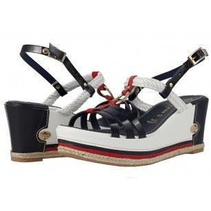 Дамски сандали на платформа от естествена кожа Prativerdi сини/червени/бели