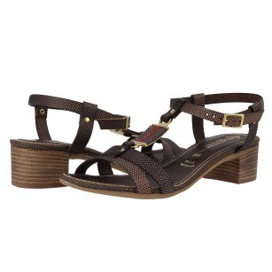 Дамски кожени сандали на ток Prativerdi кафяви