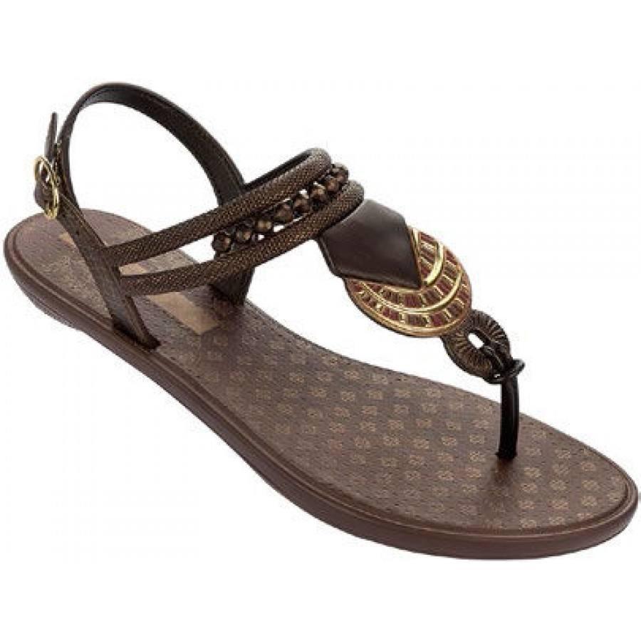 Дамски равни сандали Grendha TRIBAL кафяви