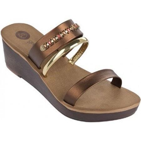 Дамски чехли на платформа Grendha кафяви