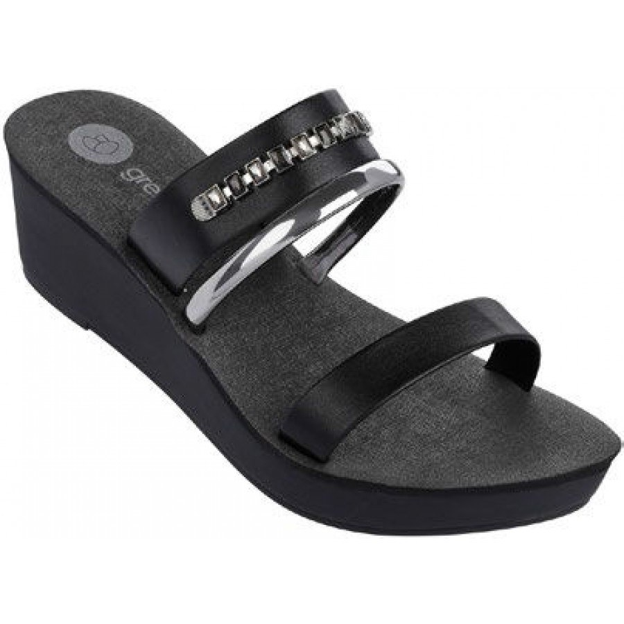 Дамски чехли на платформа Grendha черни