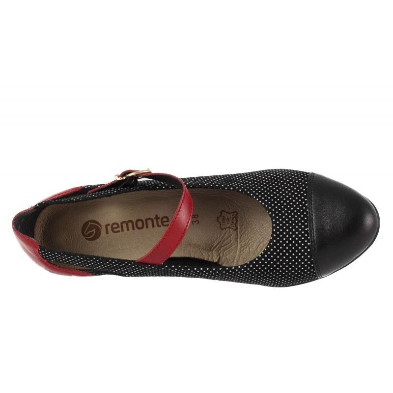 Дамски кожени обувки на ток Remonte черно/червени