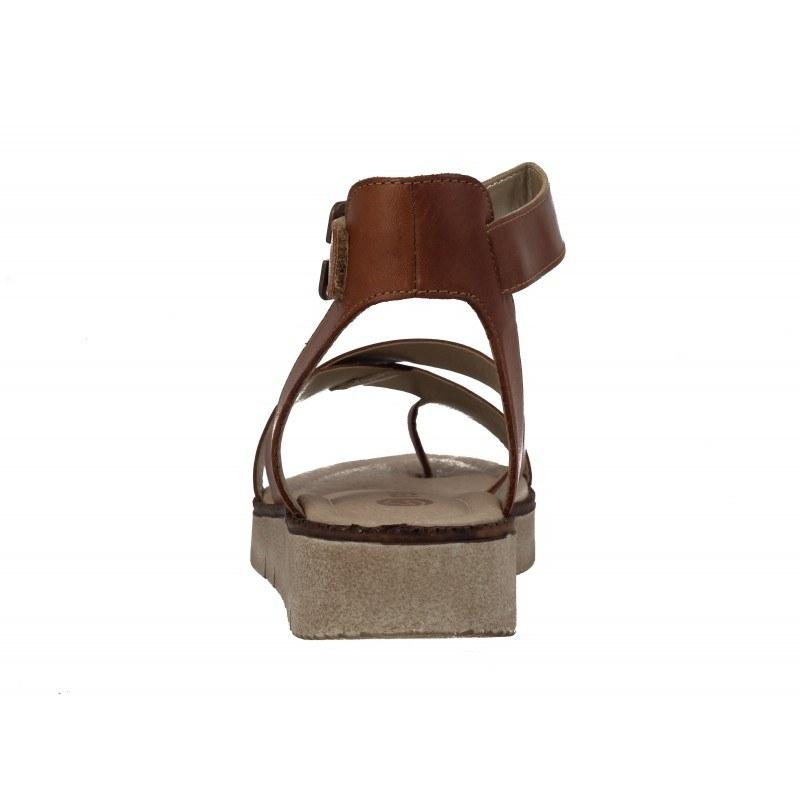 Дамски кожени сандали равни Remonte кафяви
