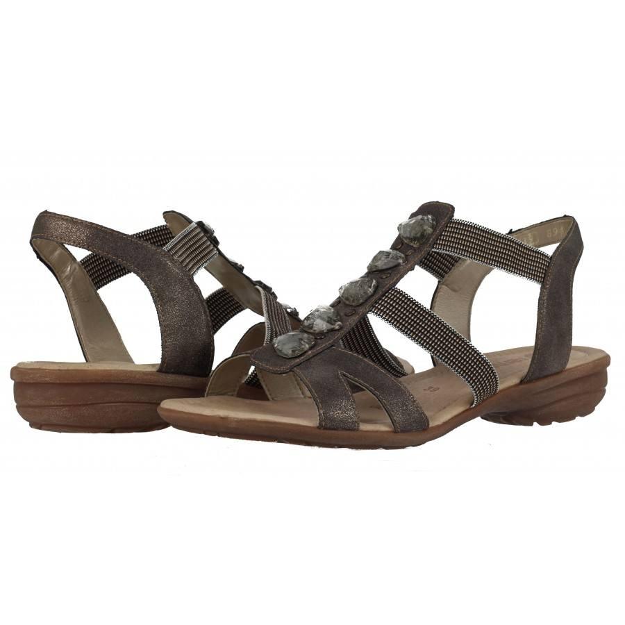 Дамски равни сандали Remonte металик с камъни