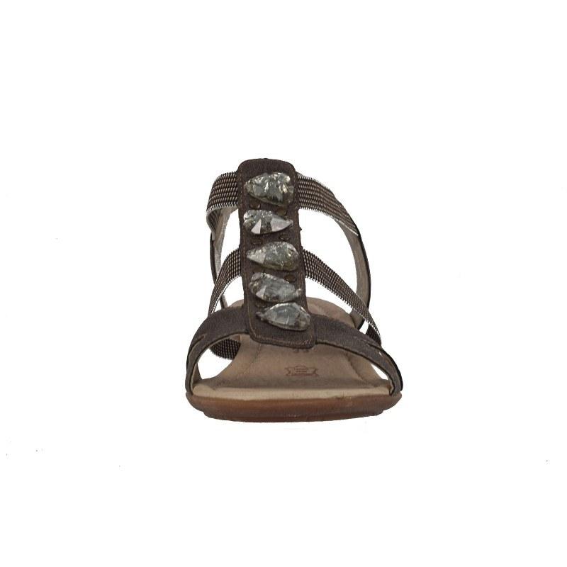 Дамски равни сандали Remonte сиви с камъни