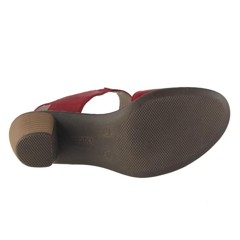 Дамски летни обувки на ток естествена кожа Rieker червени